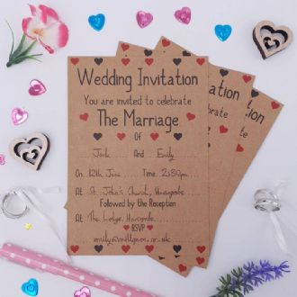 Kraft Wedding Reception Invitations & Envelopes - 1 Pack Of 8 - Love Hearts Collection